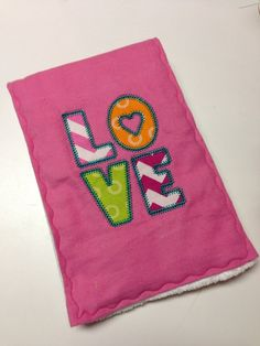 """Baby Girl """"LOVE"""" Embroidered  Appliqué Flannel Burp Cloth, Personalization Available on Etsy, $10.00"""