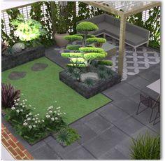 Garden Design Layout - New ideas Backyard Garden Design, Modern Backyard, Small Garden Design, Backyard Patio, Backyard Landscaping, Landscaping Ideas, Garden Seating, Back Gardens, Raised Garden Beds