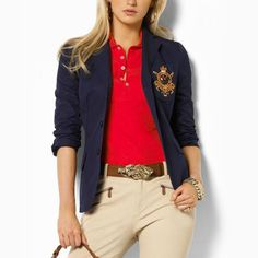 I love a good crested blazer. I can t believe I used to think preppy was a  bad thing.  Ralph Lauren Women Crown Crested Blazer in Navy  eba8be1cf3