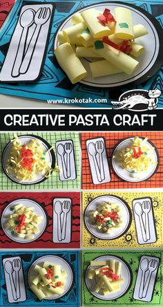 Creative pasta craft kids food crafts, paper crafts for kids, toddler crafts, preschool Kids Food Crafts, Paper Crafts For Kids, Toddler Crafts, Preschool Crafts, Diy For Kids, Craft Kids, Preschool Themes, Popsicle Stick Christmas Crafts, Diy Paper Christmas Tree
