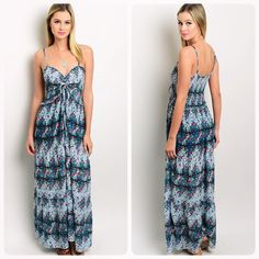 Beautiful floral easy to wear flattering sundress! Gorgeous blue floral print maxi dress with spaghetti straps- a ruche top and tie! Love this!  Follow me on Instagram @kfab333 for more items Dresses Maxi