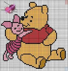 winnie the pooh and piglet cross stitch - kanaviçe etamin şablon