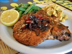 balsamic pork chops ~ my kids RAVED over this and were sad that I didn't make more than I did. Very easy & very budget-friendly!
