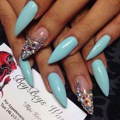 Image via We Heart It https://weheartit.com/entry/169041527/via/13043002 #blue #jewel #nails #pastel #rhinestones #stilettonails