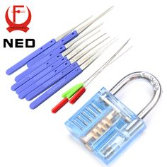 NED Mini Blue Visible Pick Cutaway Practice Padlock Lock With Broken Key Removing Hooks Lock Extractor Set Locksmith Tool #watches, #belts, #fashion, #style, #sport