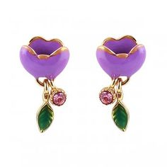 Fashion Enamel Candy Color Flower Charm Alloy Stud Party Earrings for Women