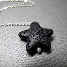 Star Necklace  Lava Rock Star Black