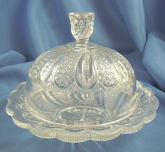Depression glass covered butter dish