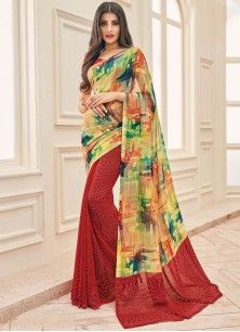 Exceeding Faux Georgette Multi Colour Print Work Printed Saree