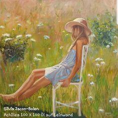 Ein romantisches Bild. ein Mädchen sitzt auf einen blumenwiese und träumt.  #impressionist #Blumenwiese #Sommer #Kunst #Gemälde Impressionist, Painting, Art, Romantic Pics, Painted Canvas, Summer Recipes, Nature, Art Background, Painting Art