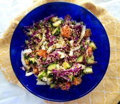 This crisp, refreshing salad made with fresh veggies, quinoa, and a naturally sweet salad dressing is the perfect vegetarian lunch or side dish. Sweet Salad Dressings, Chicken Sandwich Recipes, Raw Chicken, Quinoa Salad Recipes, Vegetarian Lunch, Rice Casserole, How To Cook Quinoa, How To Make Salad, Perfect Strangers