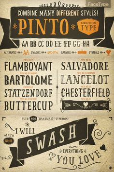 Pinto - Hand-Lettered Font Type designer Georg Herold-Wildfellner of foundry FaceType has created the hand-lettered Pinto font family in 201...