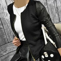 PU Leather Casual Zip Long Sleeve Chic Stylish Top Outwear Parka Coat Zipper Patchwork Baseball Jacket For Women     Tag a friend who would love this!     FREE Shipping Worldwide     Get it here ---> http://www.pujafashion.com/pu-leather-casual-zip-long-sleeve-chic-stylish-top-outwear-parka-coat-zipper-patchwork-baseball-jacket-for-women/