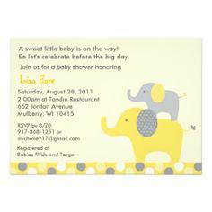 Neutral Elephant Baby Shower Invitations