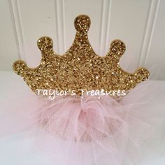 Taylors Treasures- 1st  2nd 3rd 4th Birthday Photo Prop Centerpiece, Princess Sparkle TuTu Crown Pink & Gold, Baptism, Cake Topper, AnyColor on Etsy, $9.99