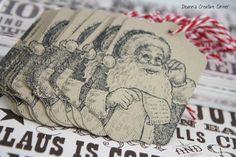 Christmas tag set of 12 handmade  - Stampin Up - Small Christmas tag set -Santa tags - Vintage tag