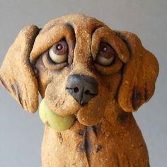 Golden Retriever Dog On Pile Of Tennis Balls Ceramic Etsy Dog Sculpture Pottery Animals Ceramic Sculpture