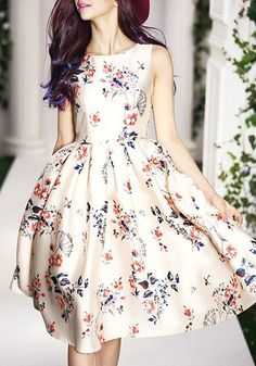 Vintage Floral Print Round Collar Sleeveless Dress For Women