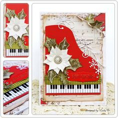 First Edition Vintage Noel Red piano Christmas card by Lady E