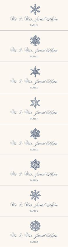 Snowflake Drawings Assortment Wedding Place Card