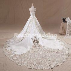 Strapless modest cathedral train satin luxurious wedding dress via Etsy