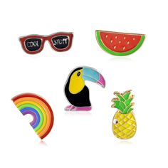 5pcs/set Toucan rainbow watermelon sunglasses pineapple Brooch Denim Jacket Pin Buckle Shirt Badge Fashion Gift For Friend
