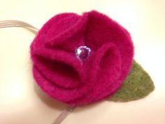 Handmade felt flower headband with a touch of bling. Available in all sizes from infant to adult. http://www.etsy.com/listing/174882460/felt-flower-headband-with-jewel-infant?ref=related-1