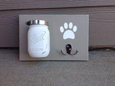 Dog Leash Treat Holder, Distressed, Wood Wall Mount, Barnwood, You Choose Mason Jar Color by UpcycledRelic on Etsy