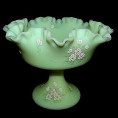 Artist Signed FENTON Custard Glass Compote Candy Dish Raised Glass Frit Flowers