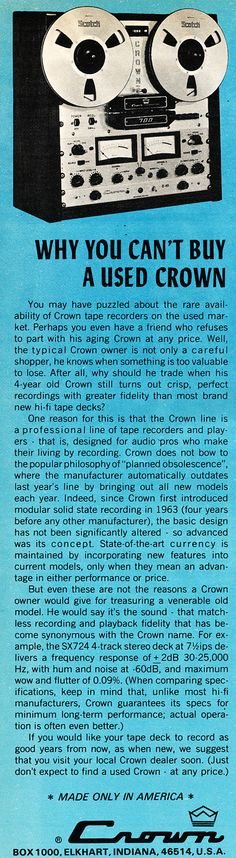 Reel to Reel Tape Recorder Manufacturers - Crown Audio, Inc. - Museum of Magnetic Sound Recording Cassette Recorder, Tape Recorder, Crown Audio, Professional Audio, Cover Pics, Museum, Ads, Collection, Vintage