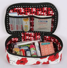 All Aboard! Train Case Trio pattern. Great for cosmetics, sewing supplies, snacks, toys, or any other small items you want to keep secure.