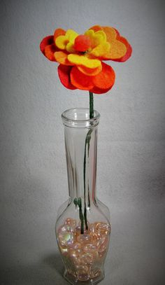 Artificial Felt Flower - Orange, Red, Yellow Stem Flower - Fake Flower, Felt Flower, Floral Arrangement, Orange Flower, Yellow Flower