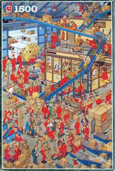 INTERNATIONAL PARCEL SERVICE No. of pieces: 1500 Size: 60 x 90 cm Artist: Jan van Haasteren