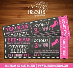 Printable Chalkboard Cowgirl Ticket Birthday Invitation | Rodeo Ticket | Western Party | Pink | Horse | Pony | Kids Birthday Party Idea | Digital File | FREE thank you card | Party Package Available |  Banner | Cupcake Toppers | Favor Tag | Food and Drink Labels | Signs |  Candy Bar Wrapper | www.dazzleexpressions.com