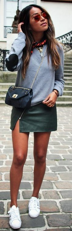 This would be a good DIY to give an upgrade to a plain sweatshirt -- sew some leather (or washable faux leather) patches on the elbows. Maison Standards Mocked Grey Sweatshirt by Sincerely Jules