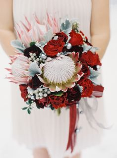 bouquet by Holly Chapple - via the full bouquet blog but with softer pink flowers - note the silver brunia - this will just be quite heavy due to the proteas
