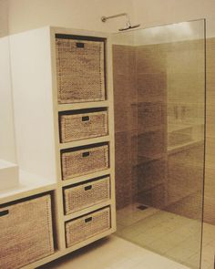 Clean and simple. #bathroomreno #waterhyacinth #baskets