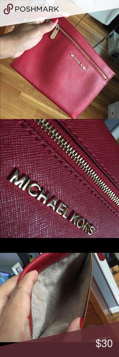 Michael Kors wristlet Michael Kors red wristlet. Worn a handful of times. Gold hardware KORS Michael Kors Bags Clutches & Wristlets