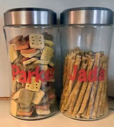 Personalized dog treat jars from dollar store