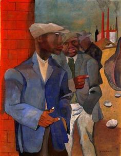 """""""Factory Workers"""" (1942) by Romare Bearden. Gouache and casein on Kraft paper."""
