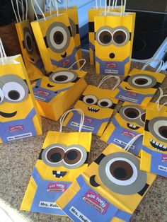 Box top minion collection bags for the classroom-