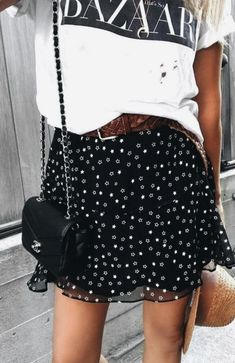 harpers bazaar tee + polka dot flounce skirt + mini chanel 2.55 quilted leather crossbody bag + straw hat + leather belt | black and white outfits | cute New York city street style outfits for teens | best back to school outfits | casual and chic outfits for women | #outfitselfie #harpersbazaar
