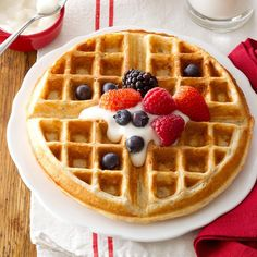 These healthful, good-tasting waffles are a tried-and-true family favorite—even with our two children. My husband and I have a small herd of beef cattle and some pigs. A hearty breakfast really gets us going! —Marna Heitz, Farley, Iowa