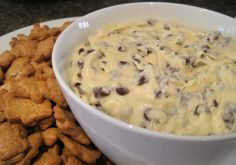 Chocolate Chip Cheesecake Dip.. I've made this before but without the choco chips and it is FAN FREAKIN TASTIC