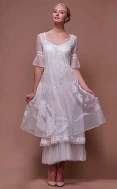 For an extraordinary yet classic bridal look, choose the ankle length Titanic Tiered Vintage Wedding Dress in Ivory by Nataya for your wedding day. Second Wedding Dresses, Vintage Inspired Wedding Dresses, Tea Length Wedding Dress, Wedding Dress Trends, Gorgeous Wedding Dress, White Wedding Dresses, Beautiful Gowns, Beautiful Outfits, Bride Dresses