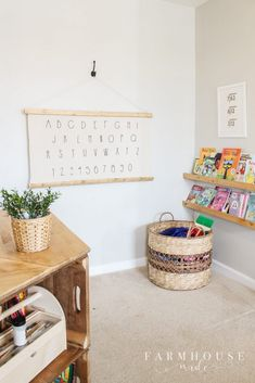 Learn how to make your own Alphabet Wall Art with a few simple steps! This piece was so quick looks great and fills up a huge space perfectly! Playroom Wall Decor, Playroom Storage, Playroom Design, Lp Storage, Record Storage, Small Playroom, Modern Playroom, Toddler Playroom, Storage Units