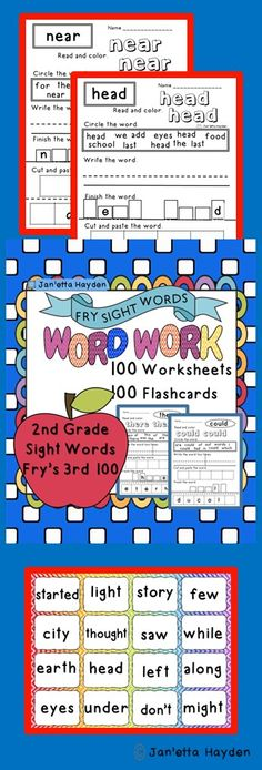 Download or pin to you Reading Board!   Fry's 3rd 100- 2nd Grade Sight Words Cut and Paste Janetta Hayden