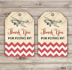 Thank You Tags Vintage Airplane Birthday Rustic Theme Party Red Modern Cute Custom Burlap Vintage Air Plane Chevron Printable Digital File