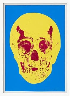 Damien Hirst, Till Death Do Us Part – Cerulean – Blue Pigment Yellow Royal Red Pop Up Skull, 2012 /  © www.lumas.com/ #Lumas