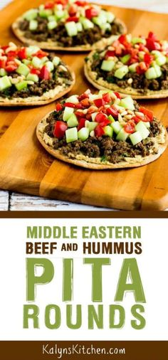 Middle Eastern Beef and Hummus Pita Rounds were inspired by Hummus with Lahmeh (spiced meat) at one of my favorite restaurants! Heart Healthy Recipes, Gourmet Recipes, Lamb Recipes, Free Recipes, Salad Recipes, Low Carb Pita Bread, Clean Eating Snacks, Healthy Eating, Healthy Foods